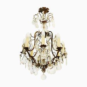 Antiker französischer Kronleuchter aus Bronze und Kristallglas