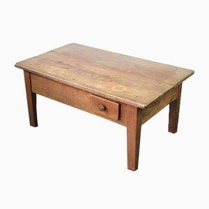 Mesa de centro rústica francesa vintage de madera, años 30