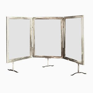 Italian Silver-Plated Triptych Mirror, 1940s