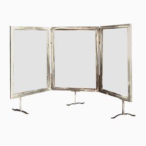 Italienischer Triptychon Spiegel mit versilbertem Rahmen, 1940er