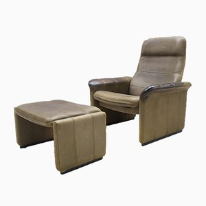 Swiss Buffalo Leather DS-50 Lounge Chair & Ottoman from de Sede, 1970s