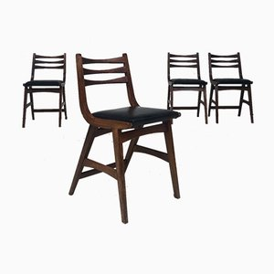 Mid-Century Oak Dining Chairs, 1950s, Set of 4