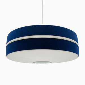 German Blue & White Pendant Lamp by Aloys F. Gangkofner for Erco, 1960s