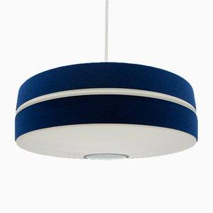 Lámpara colgante alemana en azul y blanco de Aloys F. Gangkofner para Erco, años 60