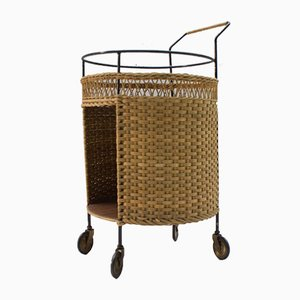 Rattan & Metal Serving Bar Cart, 1960s