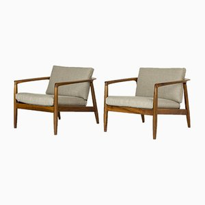 Walnut Lounge Chairs by Folke Ohlsson, 1963, Set of 2