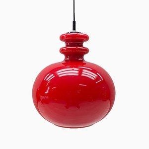 Grande Lampe à Suspension en Verre Rouge de Peill & Putzler, Allemagne, 1960s