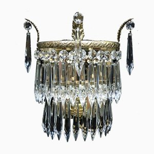 Italian Art Deco Two-Tier Crystal Glass Wall Lights, 1930s, Set of 2