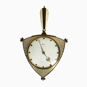 German Brass and Glass Clock from Atlanta, 1950s