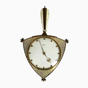 Reloj alemán de latón y vidrio de Atlanta, años 50