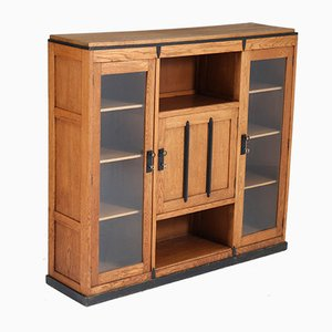 Vintage Art Deco Glass and Oak Amsterdam School Bookcase, 1920s