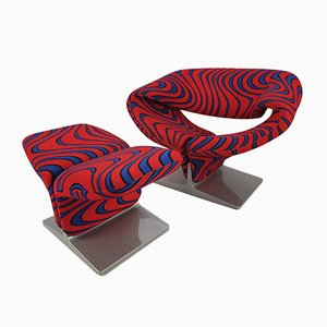 Fabric and Wood Armchair Set by Pierre Paulin for Artifort, 1980s