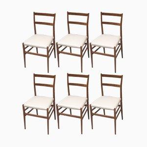 Italian Oak and Vinyl Leggera Chairs by Gio Ponti for Cassina, 1950s, Set of 6