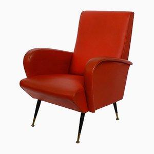 Italienischer Sessel aus Messing & Kunstleder, 1950er