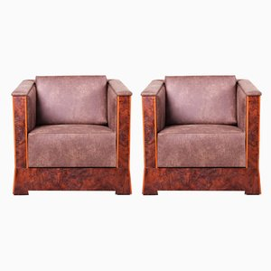 Antique Czech Leather & Walnut Cubist Armchairs, Set of 2