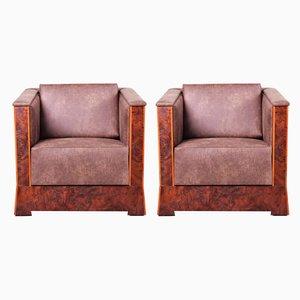 Antique Czech Leather & Walnut Cubist Armchairs, Set of 2