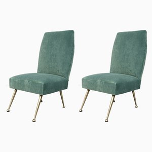 Italian Velvet Side Chairs by Gigi Radice for Minotti, 1950s, Set of 2
