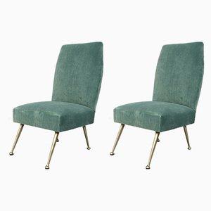 Italian Velvet Side Chairs by Gigi Radice for Minotti, 1950s, Set of 2