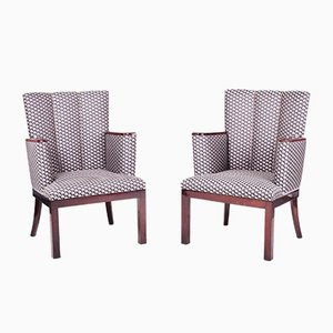 Art Deco Mahogany Armchairs, 1920s, Set of 2
