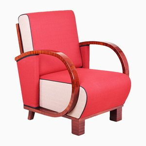 Art Deco Fabric, Lacquer, and Walnut Armchair, 1920s