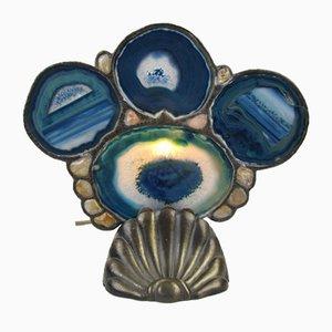 Blaue Tischlampe aus Achat von Loevsky & Loevsky, 1970er