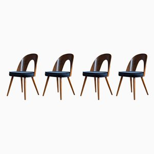 Blue Velvet Dining Chairs by Antonín Šuman for Tatra, 1960s, Set of 4