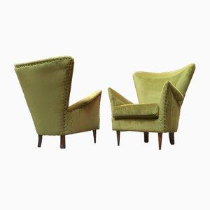 Italienische Sessel aus Holz & Samt, 1950er, 2er Set