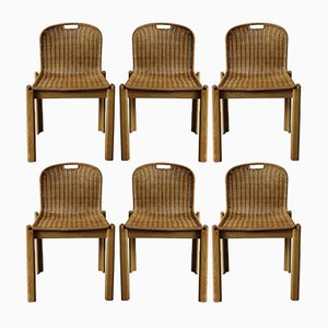 Italian Wicker Dining Chairs, 1960s, Set of 6
