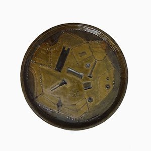 Vintage Brutalist Cermic Plate, 1970s