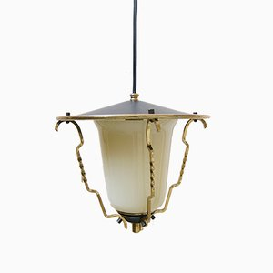 Mid-Century French Brass and Glass Ceiling Lamp, 1950s