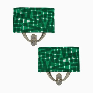 Mid-Century Italian Fabric and Silver Sconces, 1950s, Set of 2