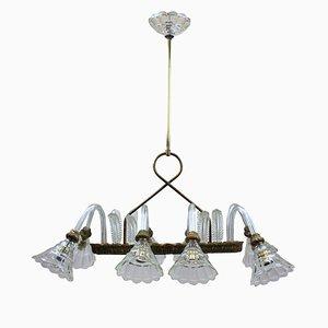 Lámpara de araña italiana rectangular de latón y vidrio de Barovier & Toso, años 50