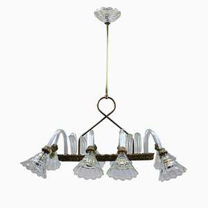 Rectangular Italian Brass and Glass Chandelier from Barovier & Toso, 1950s