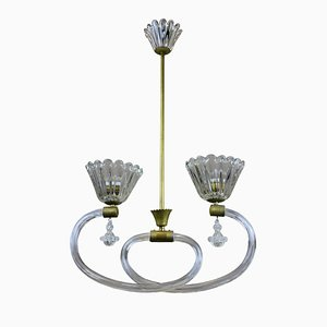 Italian Brass and Hand-Blown Glass Ceiling Lamp from Barovier & Toso, 1950s