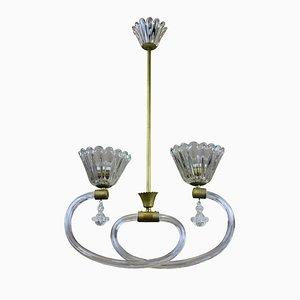 Italienische Deckenlampe aus Messing und mundgeblasenem Glas von Barovier & Toso, 1950er