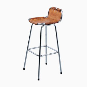 French Iron and Leather Les Arcs Bar Stool, 1960s