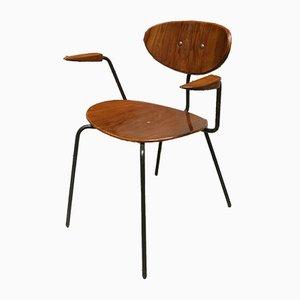 Deutscher Mid-Century Stuhl aus Metall und Teak, 1960er