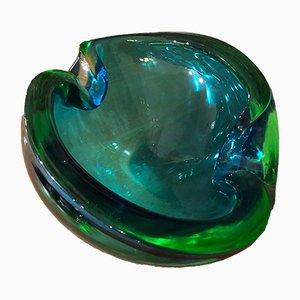 Cenicero italiano de cristal de Murano verde y azul de Seguso Vetri d'Arte, años 70