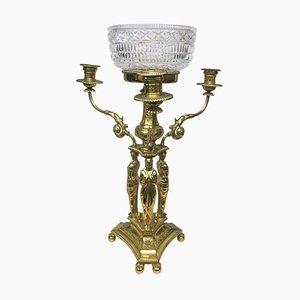 Antiker britischer Tafelaufsatz aus vergoldetem Metall mit Kerzenhaltern