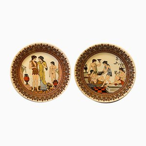 Ceramic Neoclassical Style Greek Mural Plates from Victor, 1960s, Set of 2