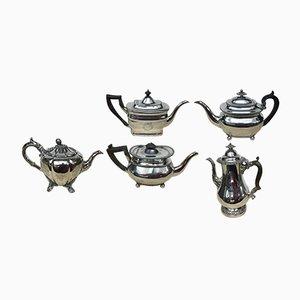 Antique Georgian Sheffield Plate English Teapots, Set of 5