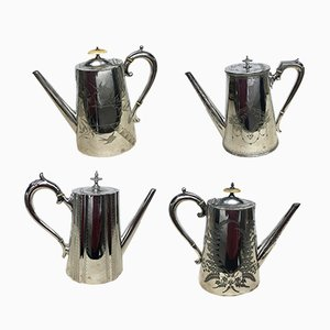 Victorian English Silver-Plated Coffee Pots, 1870s, Set of 4