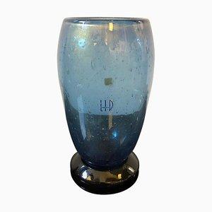 Vase Vintage en Verre de Murano Noir et Bleu par Marcello Furlan pour L.I.P., 1970