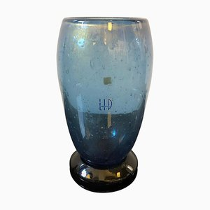 Vintage Black & Blue Murano Glass Vase by Marcello Furlan for L.I.P., 1970