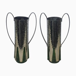 Art Deco Glass and Silver Vases, 1930s, Set of 2