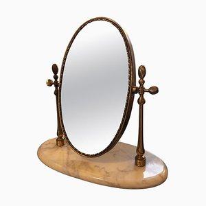 Mid-Century Marble & Brass Table Mirror, 1950s