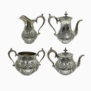Victorian Engraved Silver Plated British Tea Set from T. Wilkinson & Sons, 1870s