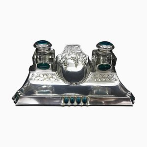 Antique Art Nouveau Silver Plated Inkwell, 1900s