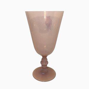 Vaso italiano de cristal de Murano rosa, años 30
