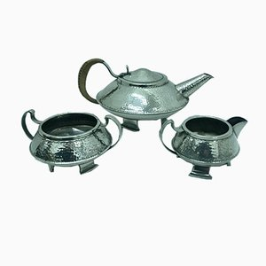 Arts & Crafts English Silver-Plated Tea Set from J. B. Chatterley & Sons ltd, 1910s